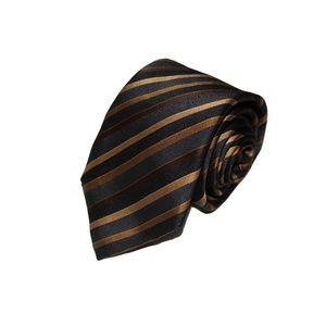 CANALI black gold brown stripe neck tie 3.5x60